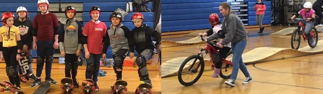 WRMS students on boards and bikes